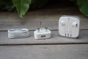Lightning to USB cable, wall charger, a pair of EarPods