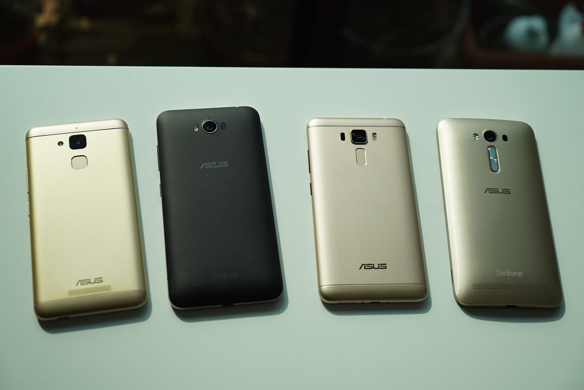 Zenfones old and new. From left to right Zenfone 3 Max, Zenfone Max, Zenfone 3 Laser, Zenfone 2 Laser