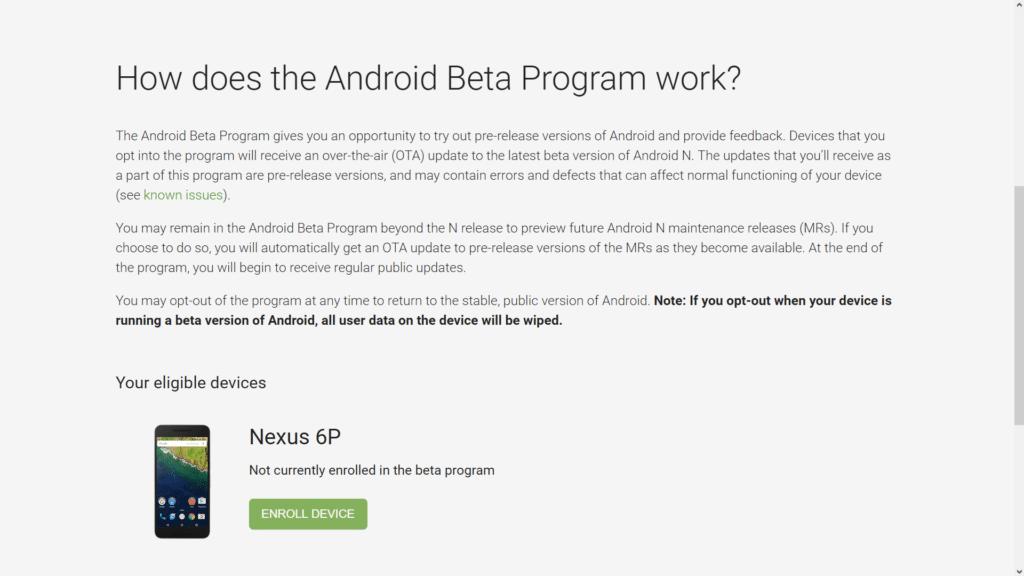 Android Beta Program nexus 6p