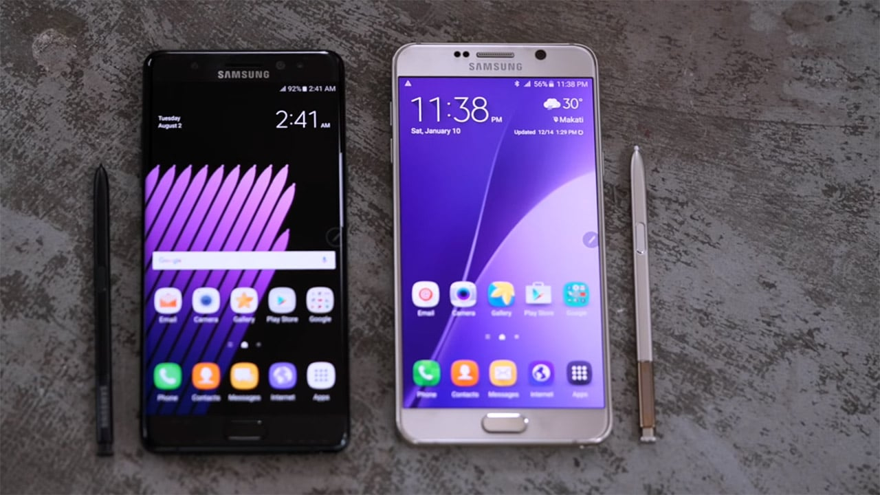 Samsung Galaxy Note 7 and 5