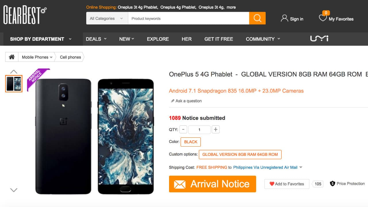 OnePlus 5 on GearBest