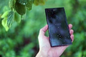 A wet Sony Xperia XZ Premium
