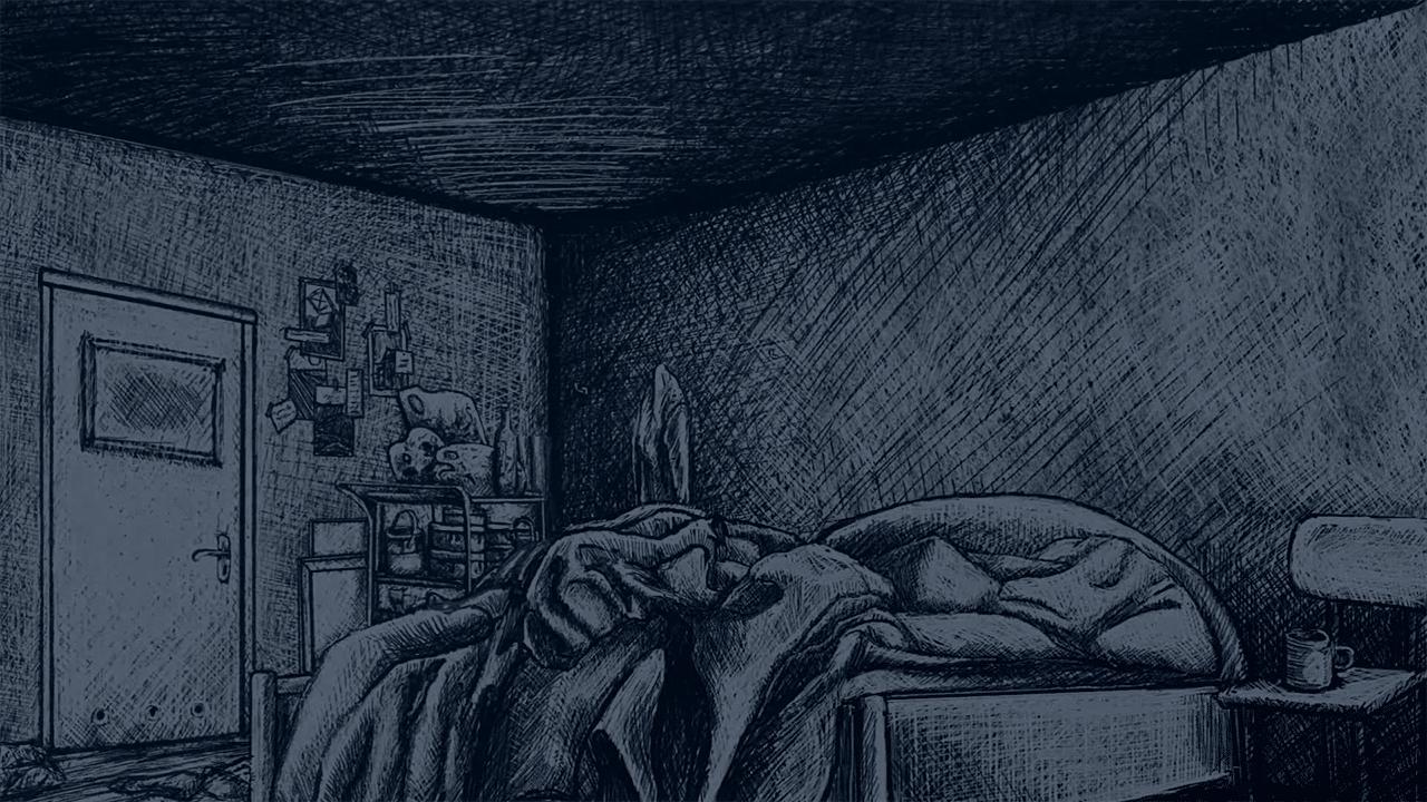 Thomas' bed, Indygo, Sketched bed, Dark bedroom