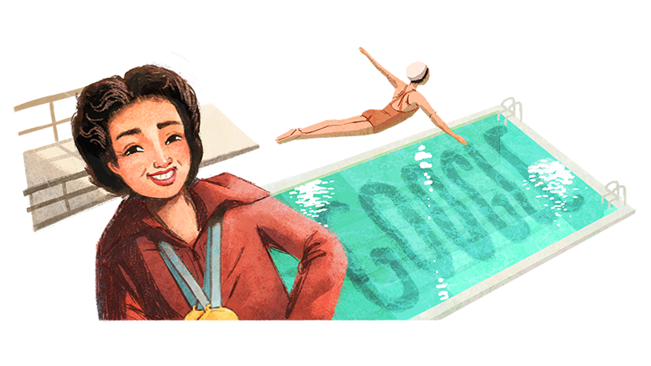 Google Doodle featuring the first Fil-Am woman to win Olympic gold