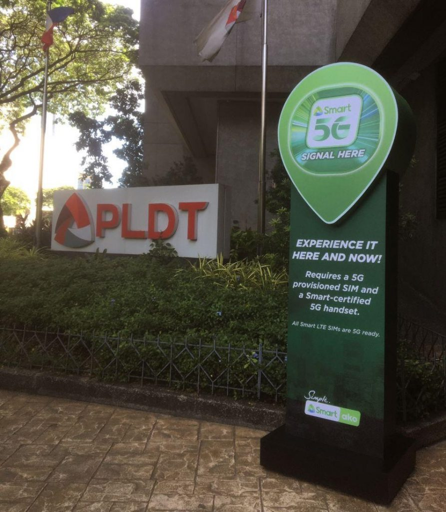 Smart 5G signal marker in their own Makati headquarters
